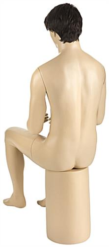 Seated Male Mannequin with Brown Wig & Stable Pedestal