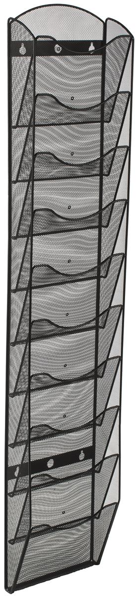 Mesh Wall Magazine Rack 10 Tiered Pockets With Dividers