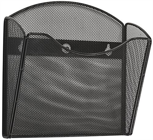 Black Mesh Brochure Holder for Wall
