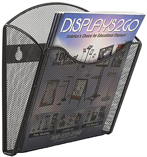 Mesh Brochure Holder for Wall w/ Dividers