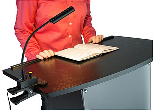 Podium light shown in use on black lectern