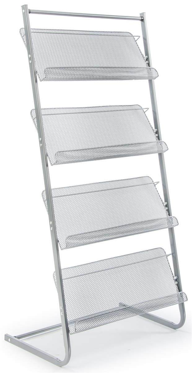 Displays2go Literature Stand for Floor, 4 Tiers, for Maga...