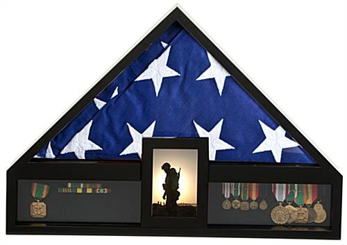 Flag and Medal Display Case - Black MDF