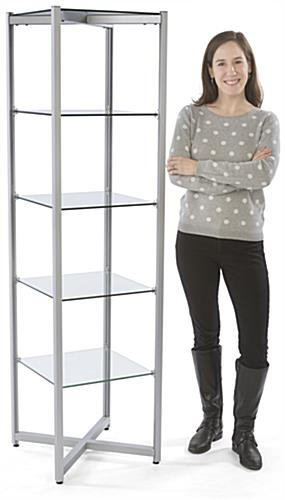 "68"" Tall Glass Tower Shelves"