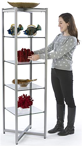 Aluminum & Tempered Glass Tower Shelves