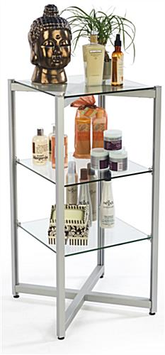 3 Level Tiered Glass Shelving Display