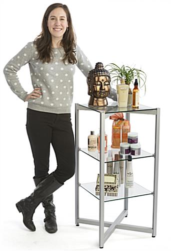 Aluminum & Tempered Tiered Glass Shelving Display