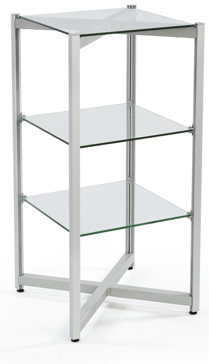 Tiered glass shelving display levels