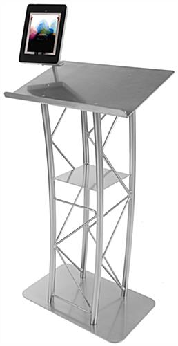 Ipad Floor Lectern Silver Truss Stand Amp Clamping Enclosure