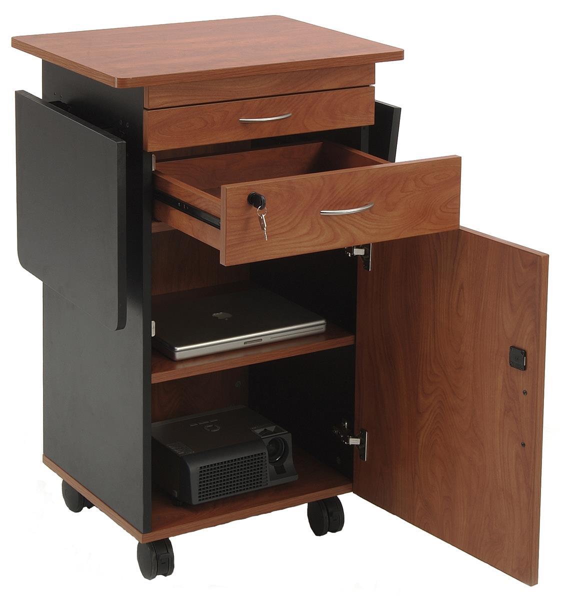 Av Lectern Cherry With Dual Flip Up Shelves Amp Locking