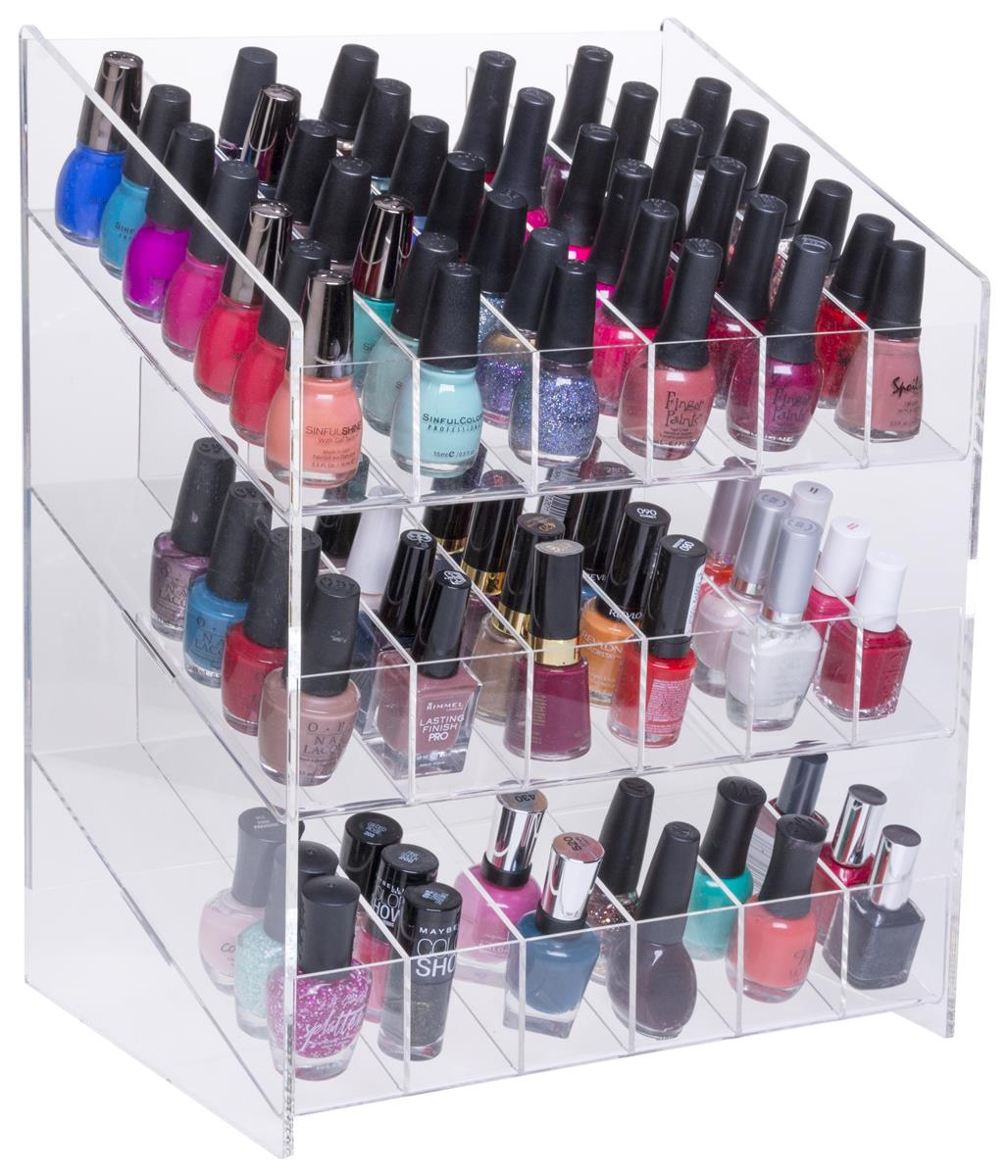 Nail Polish Counter Display Tri Level Slide Feed Lacquer