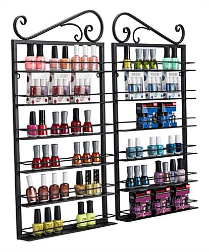 nail polish rack display with bottles