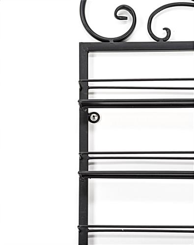black nail polish rack with wire shelves