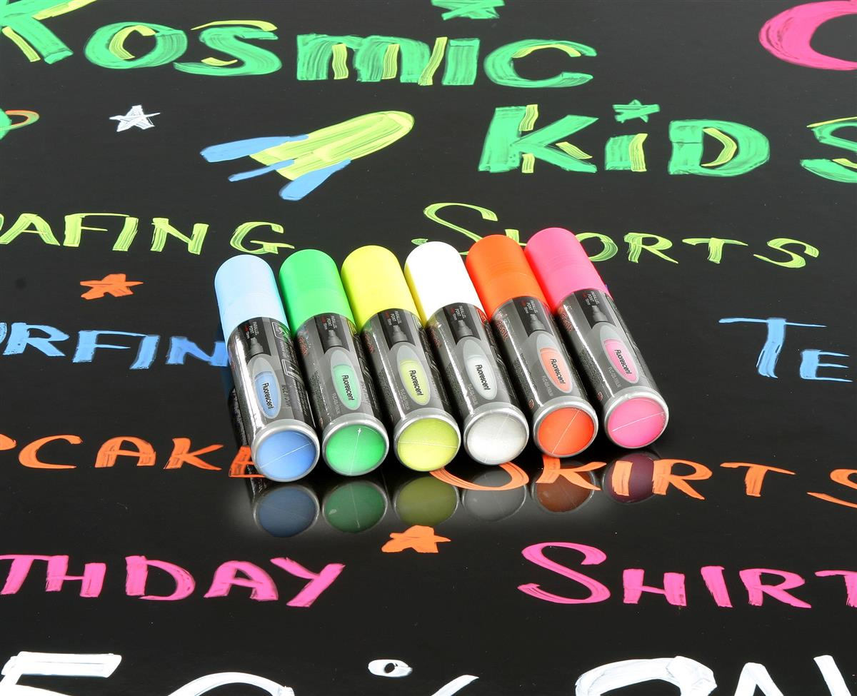 These Sidewalk Sign Fluorescent Markers Have A 5 8 Flat Tip These Sidewalk Sign Fluorescent Markers Come In A Package Of Six