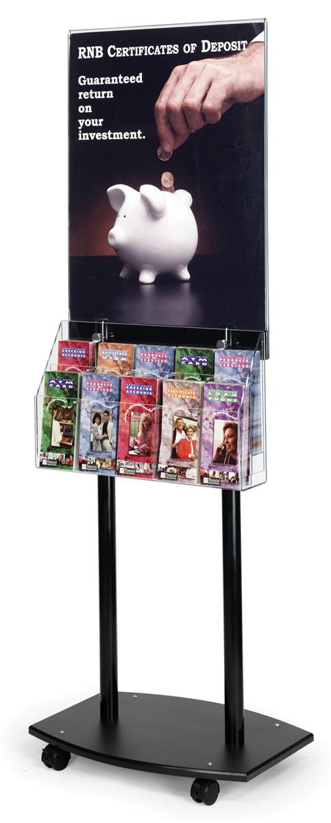 black poster stand with casters