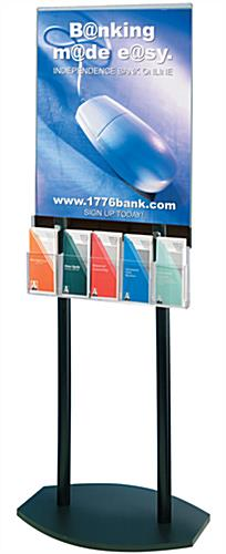 Floor standing poster stand with brochure pockets