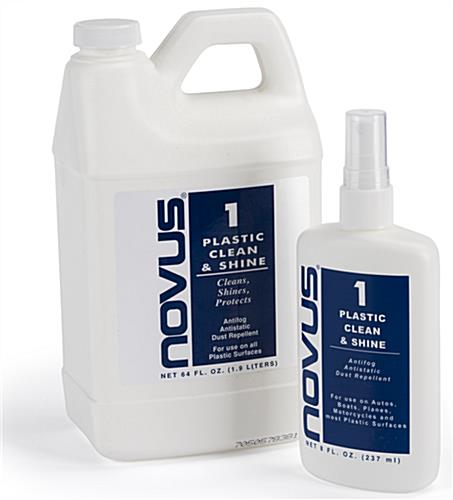NOVUS acrylic cleaning solution in both eight and sixty four ounce bottles