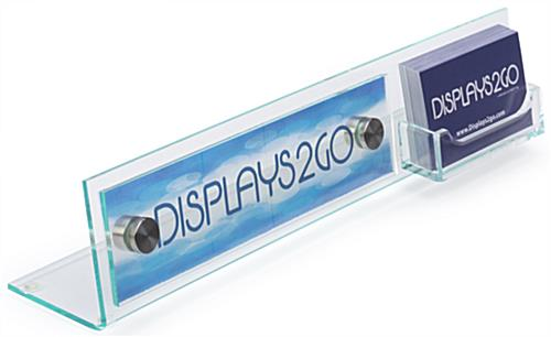 Desk Nameplate With Business Card Holder Clear Acrylic