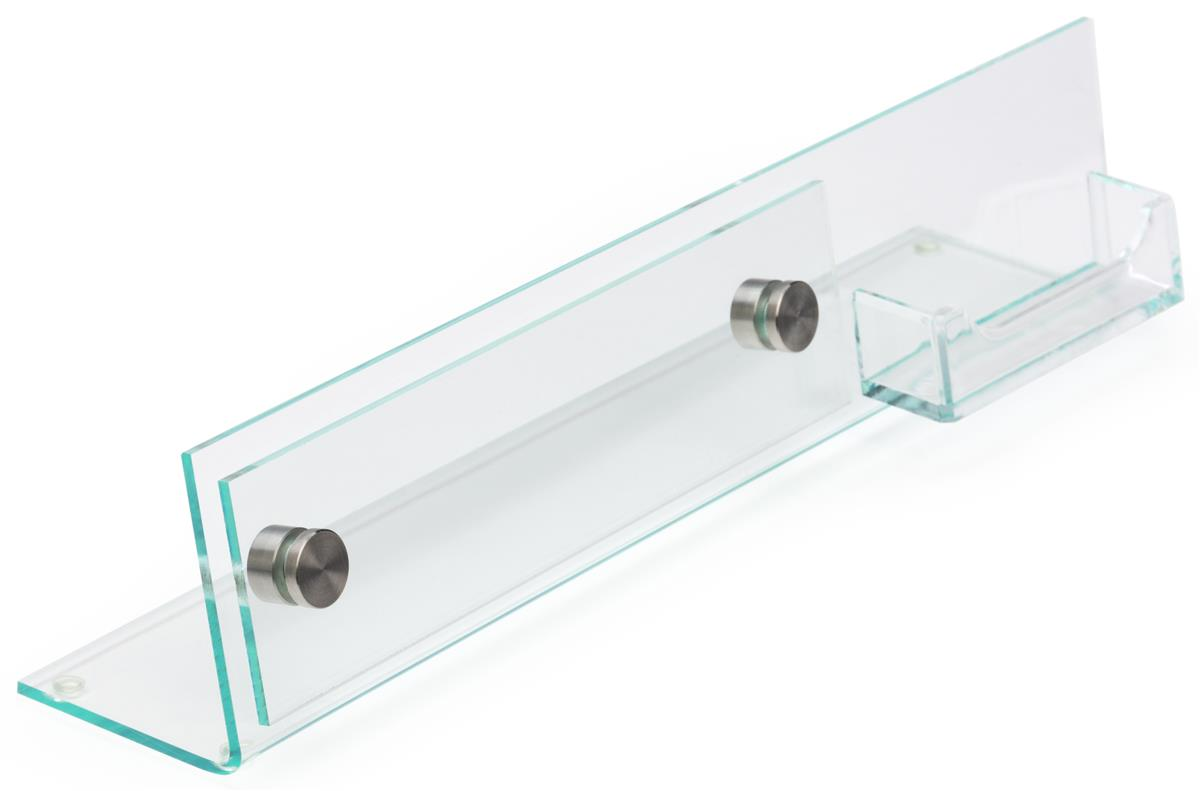 Desk Nameplate with Business Card Holder | Clear Acrylic