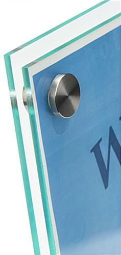 Stainless Steel Standoffs on Slanted Sign Holder with Brochure Display