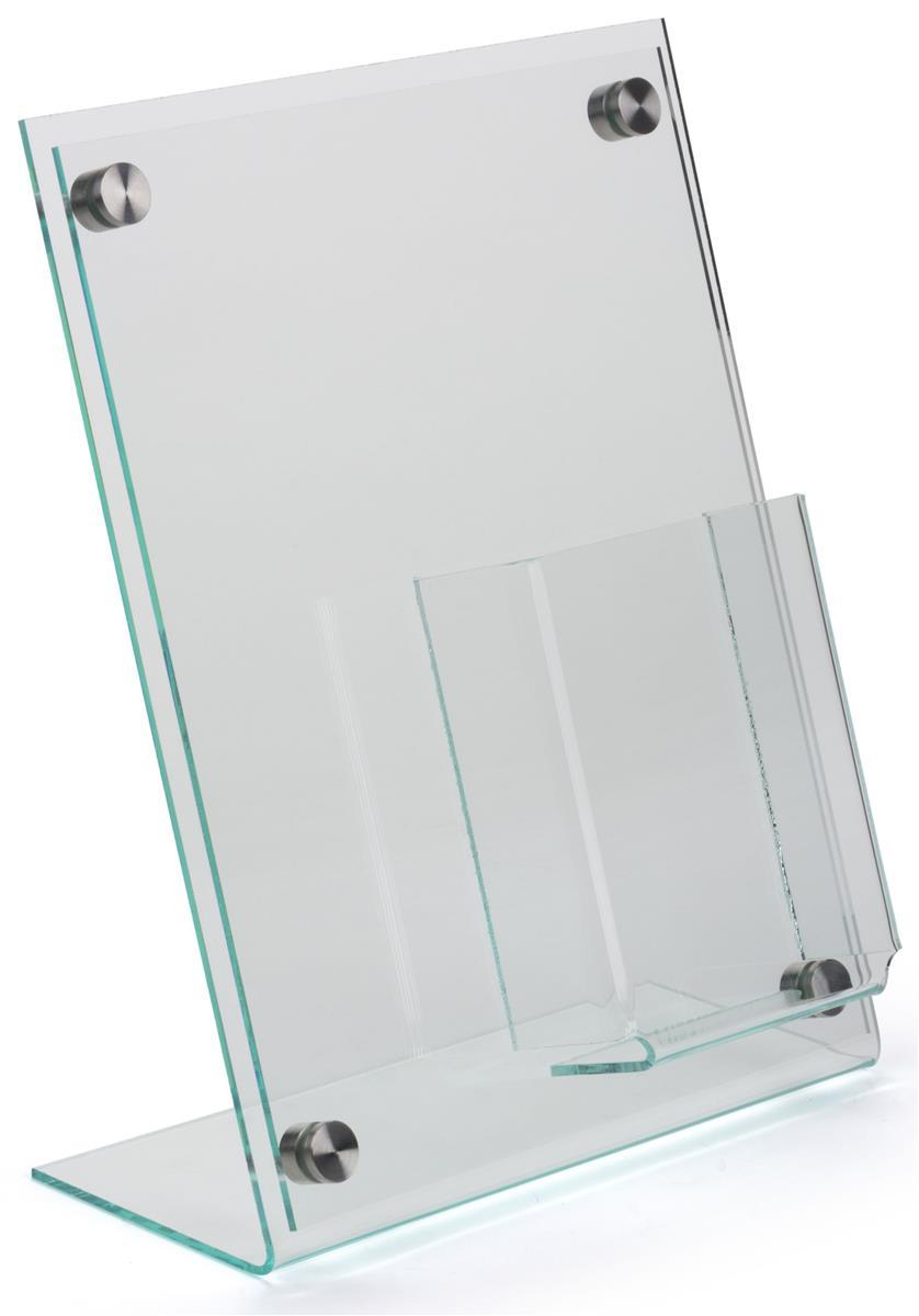 slanted sign holder with brochure display