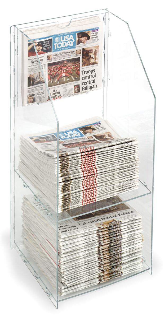 Newspaper Stand Designs : Small acrylic newspaper rack designed for countertop use