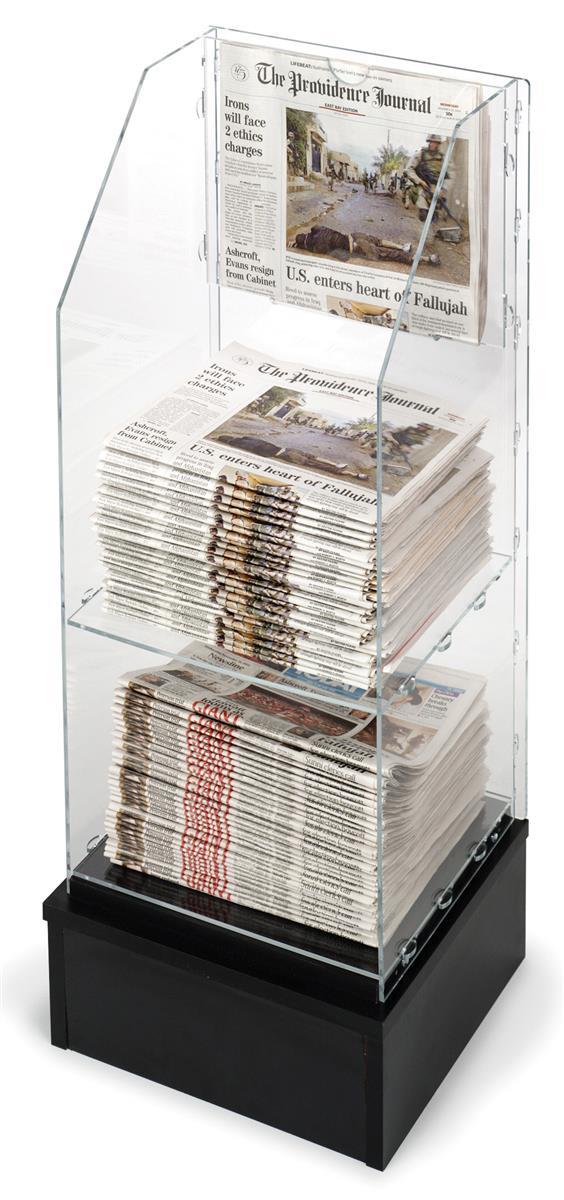 Free Standing Newspaper Rack Acrylic W Black Base