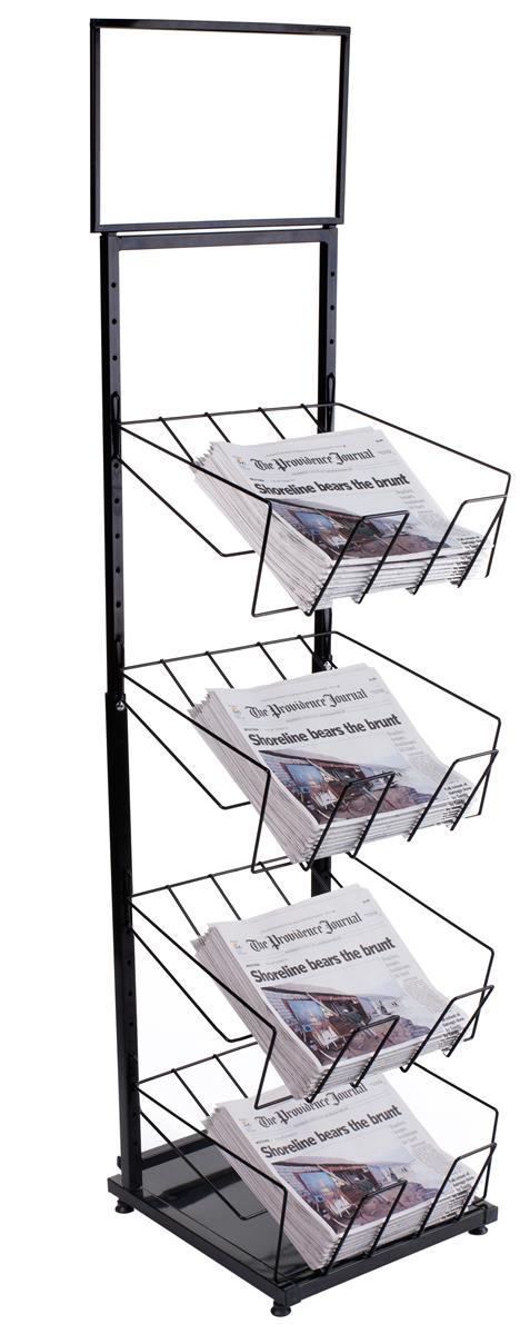 Displays2go 4-Tiered Newspaper Rack for Floor with 4 Wire...