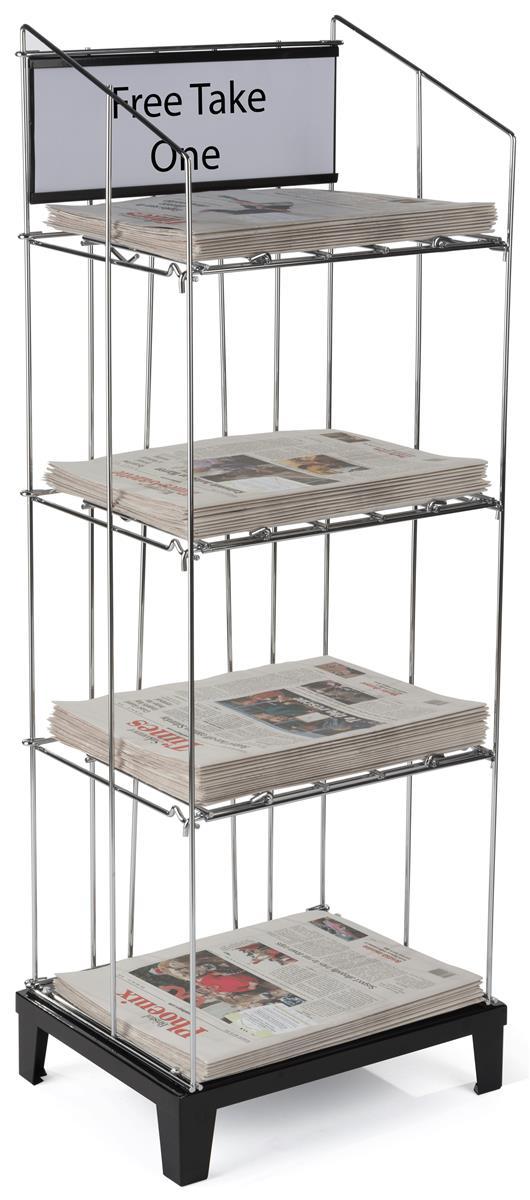 Wire Newspaper Floor Rack 3 Removable Shelves