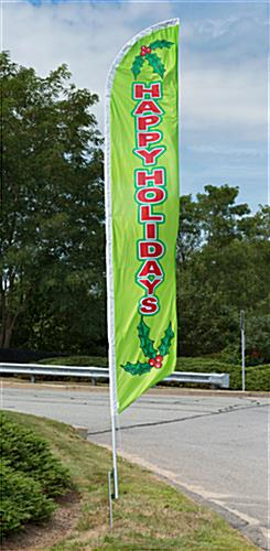 Happy Holidays green feather flag with vibrant colors