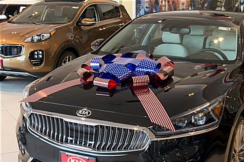 Patriotic metallic car bow for metal hoods or roofs