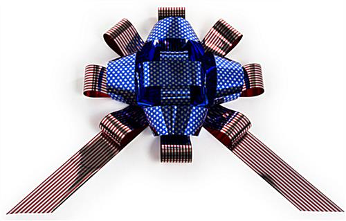 Patriotic metallic car bow with stars and stripes pattern