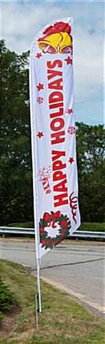 Happy Holidays festive feather flag with pre-printed message