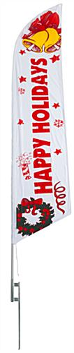 Happy Holidays festive feather flag with ground spike kit