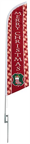 Merry Christmas feather banner with pre-printed message