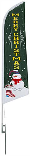 Merry Christmas green feather banner with snowman graphic