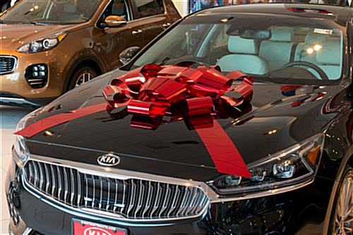 Shiny red holiday bow car ribbon for hood placement