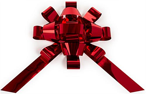 Shiny red holiday bow car ribbon with 2 tails