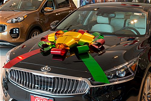 Multicolor metallic oversize car bow for vehicle placement