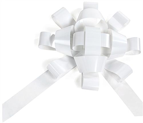 White metallic promotional jumbo bow with traditional design