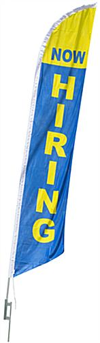 Now Hiring Flag with Blue and Yellow Coloring