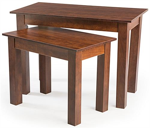 Cherry Wood Nesting Tables Set Of 2 With Faux Wooden Finish