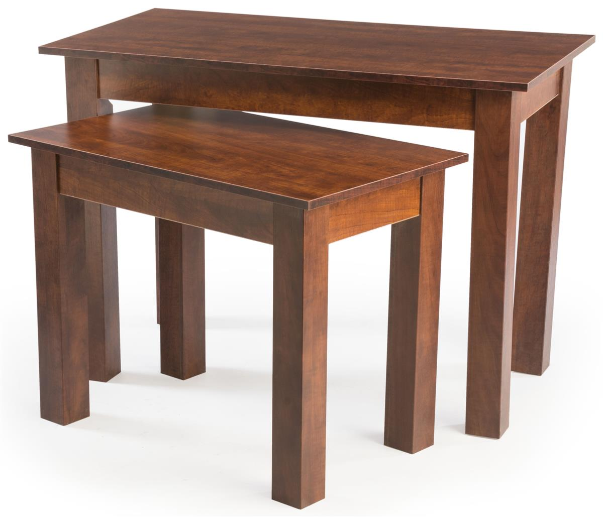 Cherry wood nesting tables set of with faux wooden finish