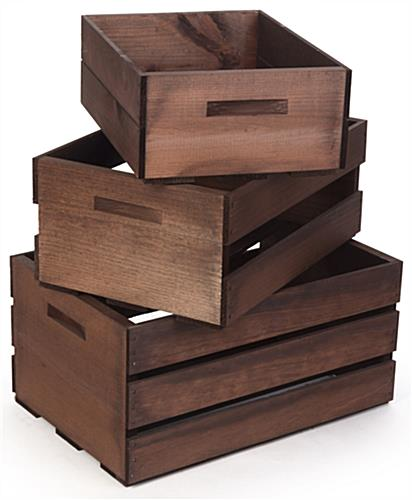 Wood Display Crates with Handles