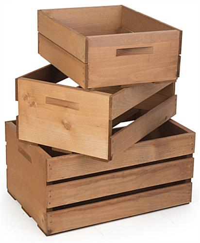 Wooden Display Crates with Handles