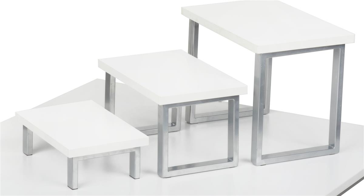 White Nesting Table For Retail Store ~ Nested table riser set piece stacking displays