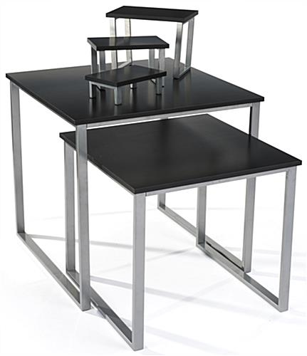 Black Nesting Table Set with MDF Tabletops