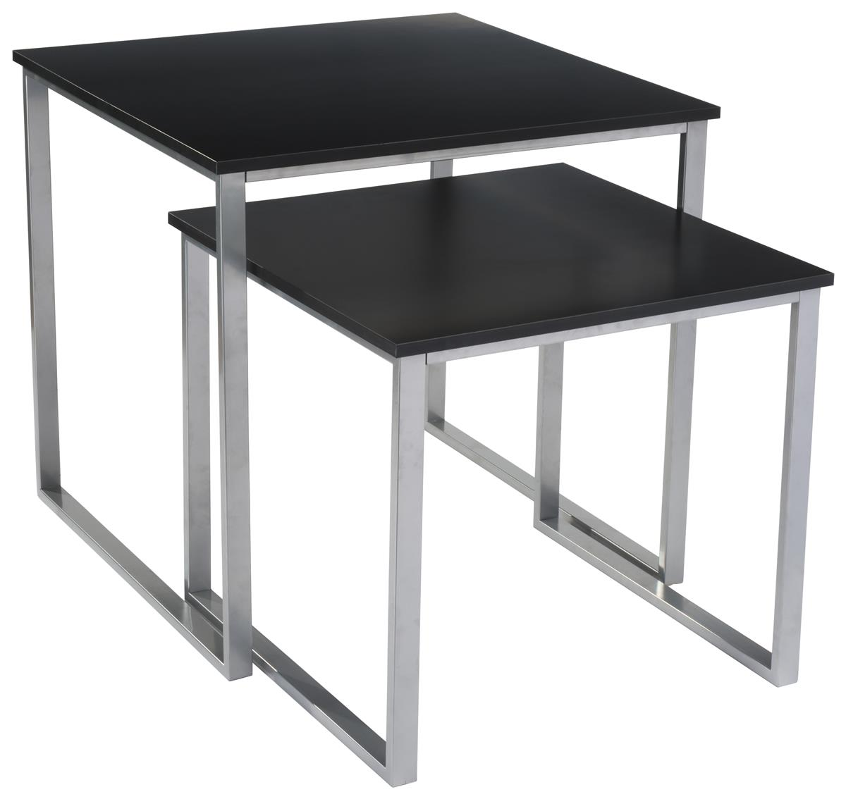 Set Of 2 Square Design Nesting Coffee Tables Made Of Black: Contemporary Nesting Tables