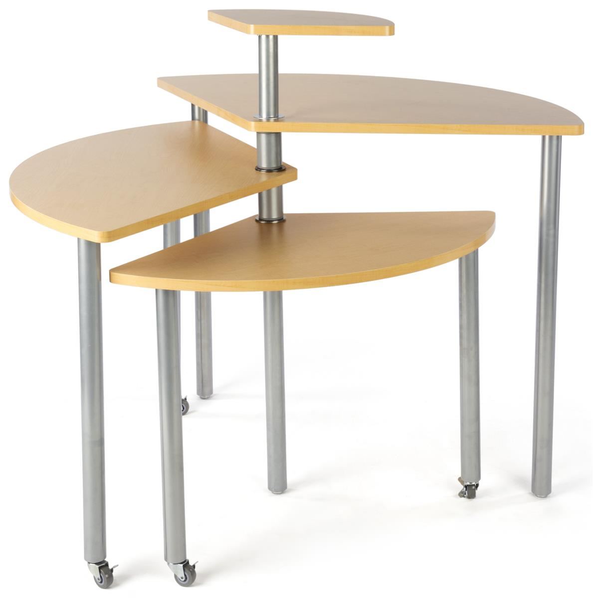 Maple rotating retail display table 4 tiers for Display table