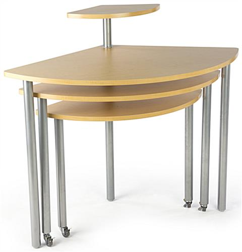 Maple Rotating Retail Display Table with Nesting Layers